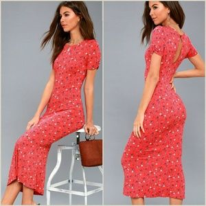 NWT Free People Caroline Print Midi Dress